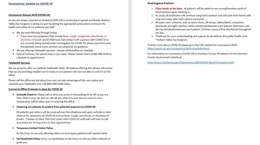 An update regarding COVID-19 & Telehealth Services
