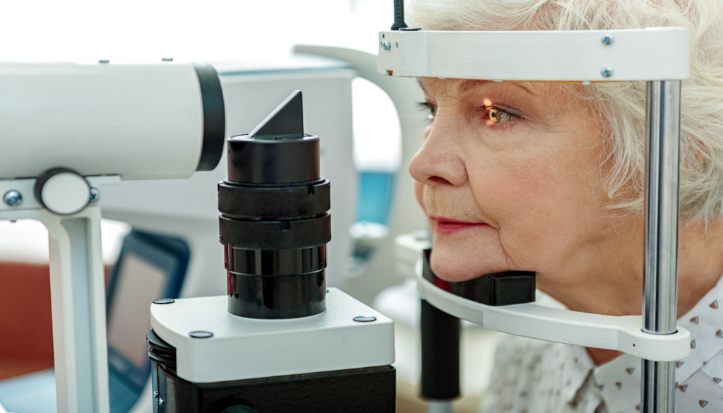 A woman taking an eye test